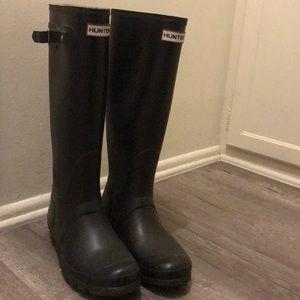 Tall black HUNTER boots size 9